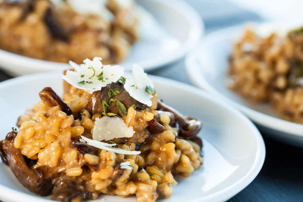 Photo of mushroom risotto, one of the types of meals you can enjoy at the best Italian restaurants in Tampa.