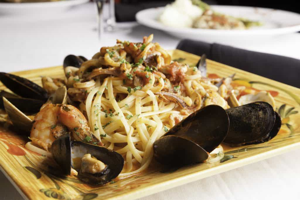 Photo of seafood pasta.
