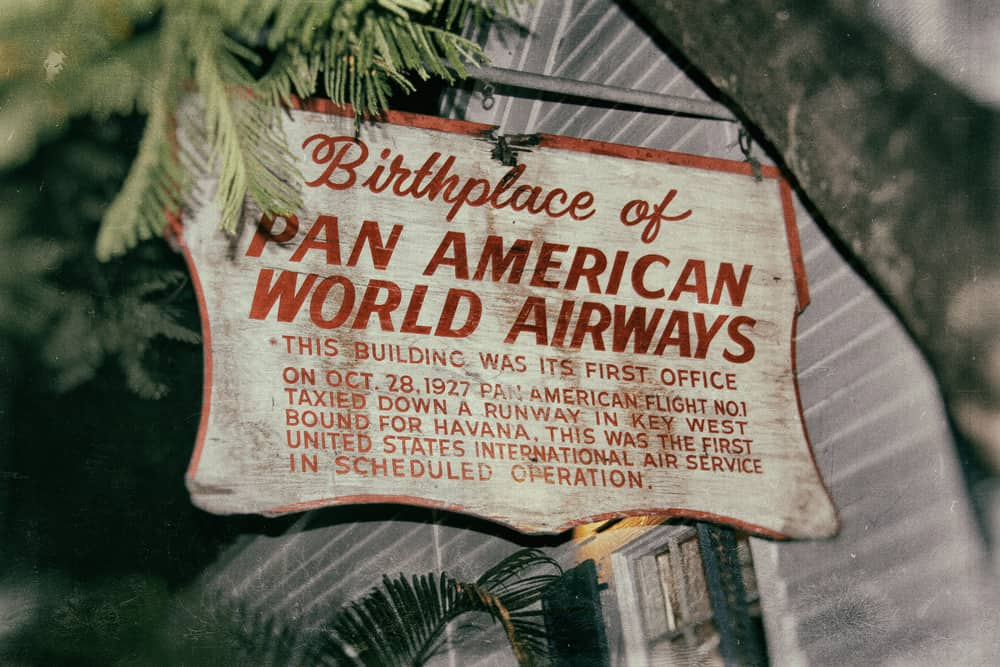 battered sign denoting the birthplace of Pan American World Airways