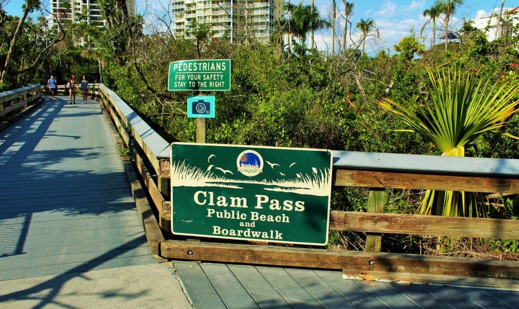 The entrance to the boardwalk at Clam Pass Beach, one of the most exciting beaches in Naples.