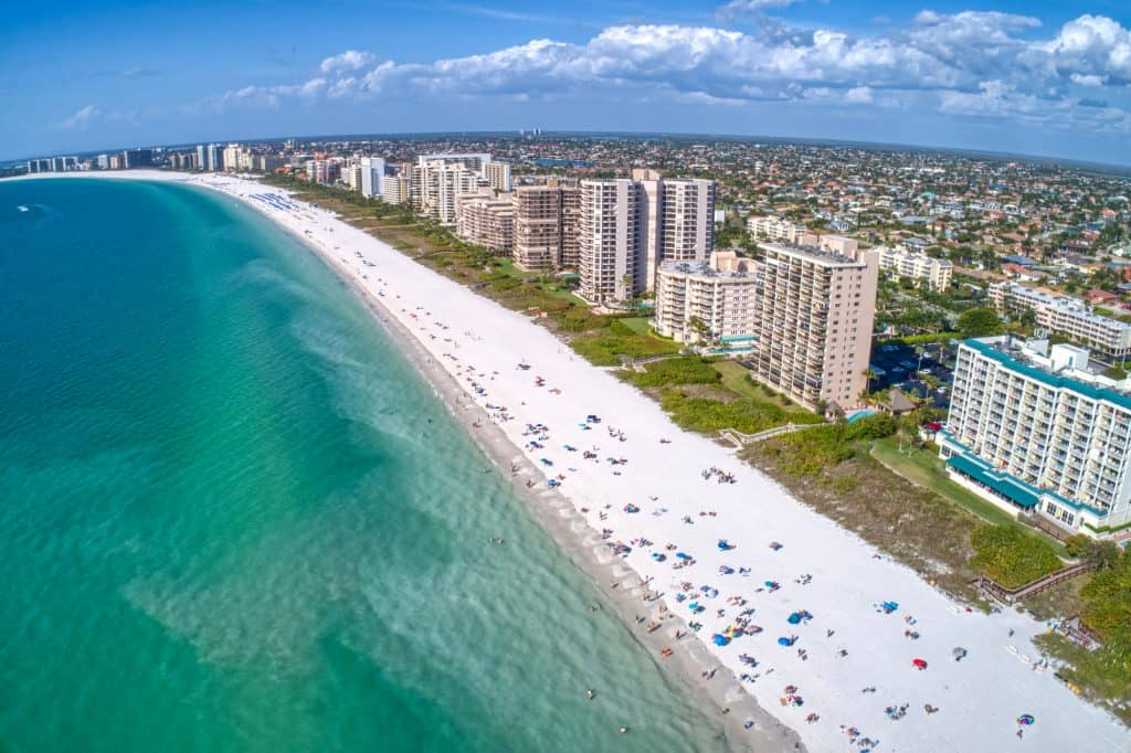 An aerial view of the best beach in Naples.