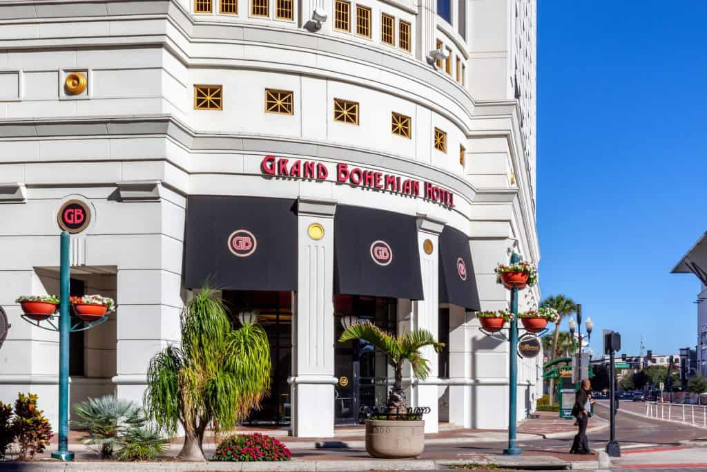 The exterior of the Grand Bohemian Hotel, which houses the Boheme, one of the best Orlando brunch spots.