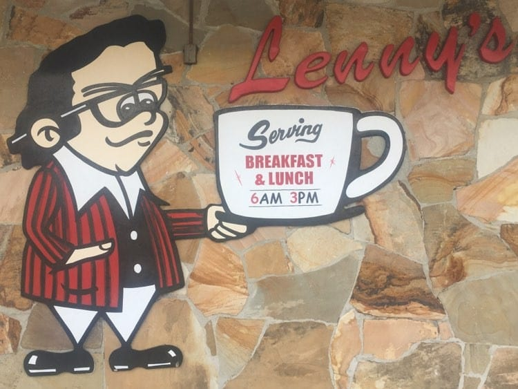 The iconic sign at Lenny's, serving the best breakfast in Clearwater, Florida.