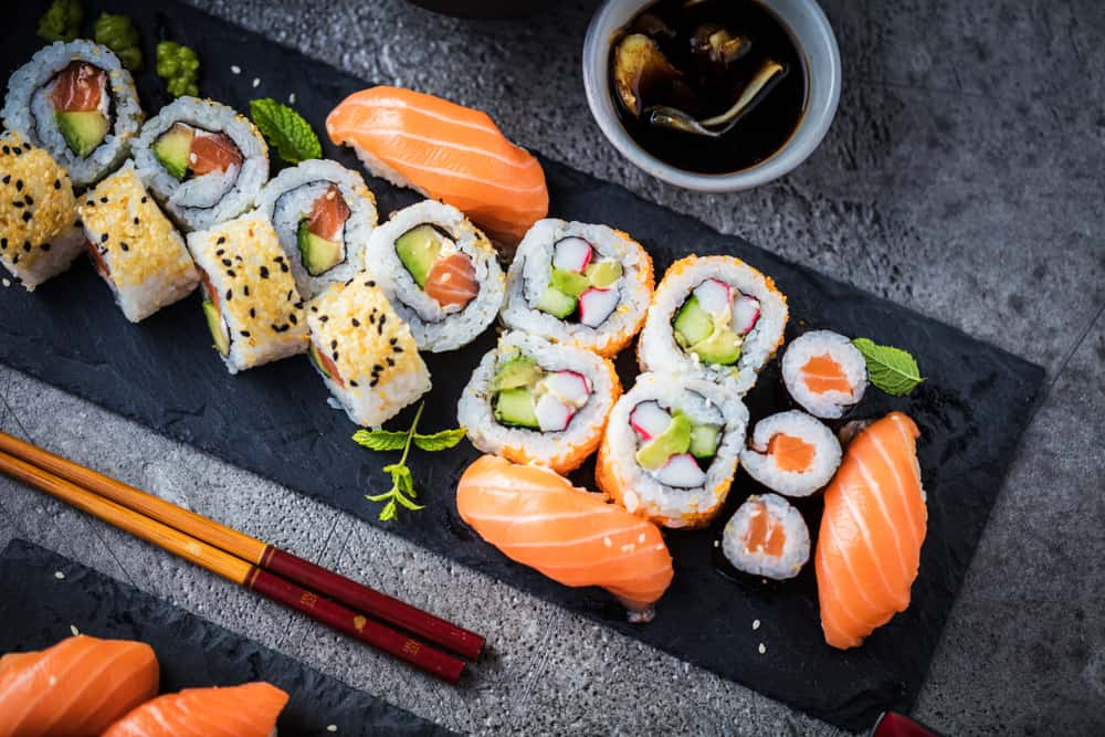 Enjoy sushi at Dragonfly one of the restaurants in Downtown Gainesville