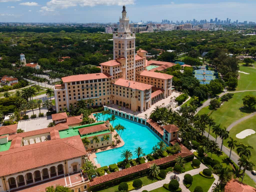 A bird's eye view of the Biltmore Hotel and Spa, one of the best spas in Florida.