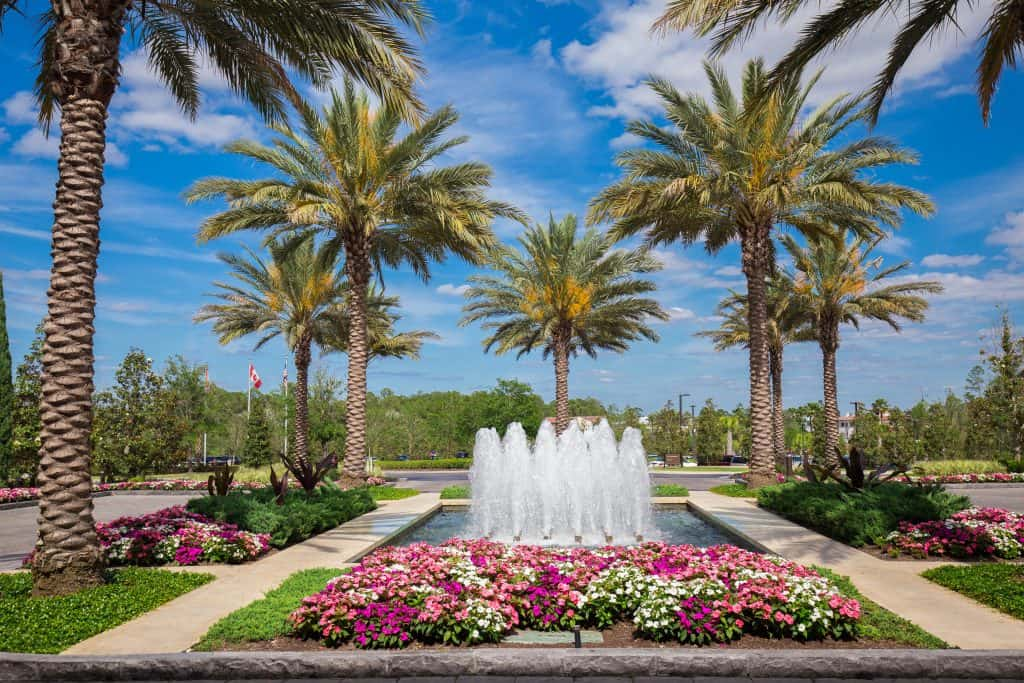 The perfectly pruned lawn and fountains as seen from the Four Seasons Resort and Spa, one of the best spas in Florida.