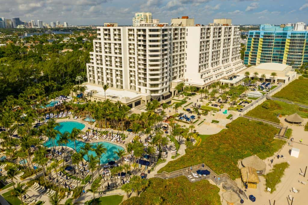 A bird's eye view of the Harbor Beach Spa in Fort Lauderdale, one of the best spas in Florida.