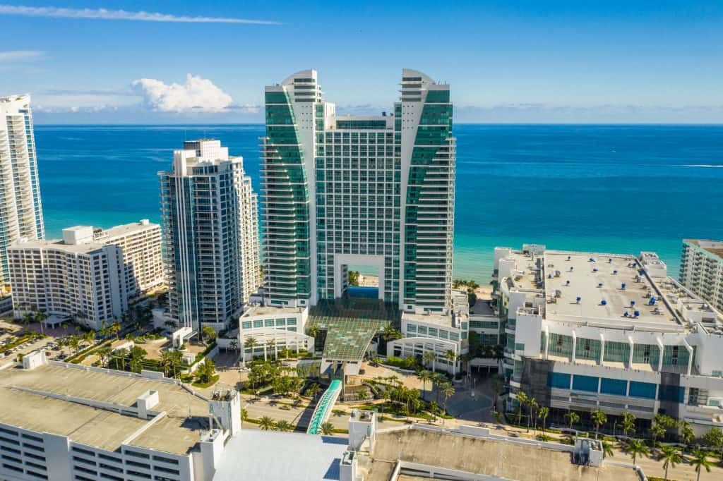 A bird's eye view of the Diplomat, where one of the best spas in Florida features gorgeous panoramic views of the Atlantic.