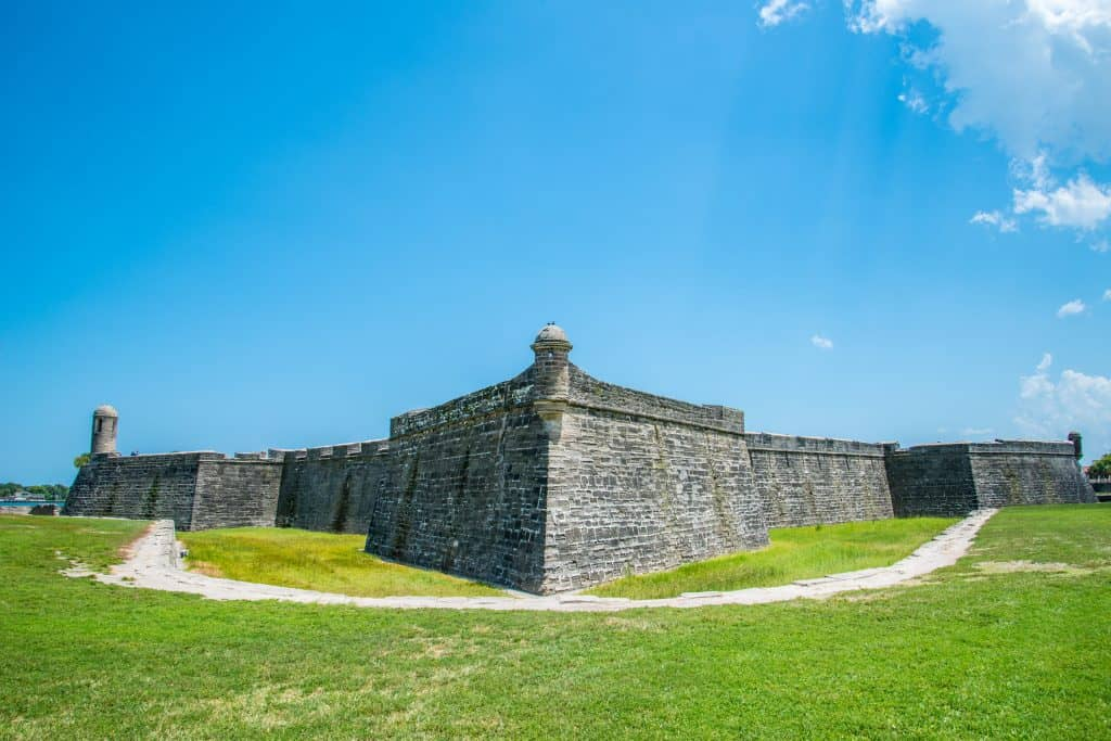 The exterior of the Castillo de San Marcos in St. Augustine, Florida.