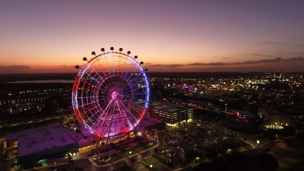 An aerial shot of the Orlando Eye, one of the most romantic things to do in Orlando.