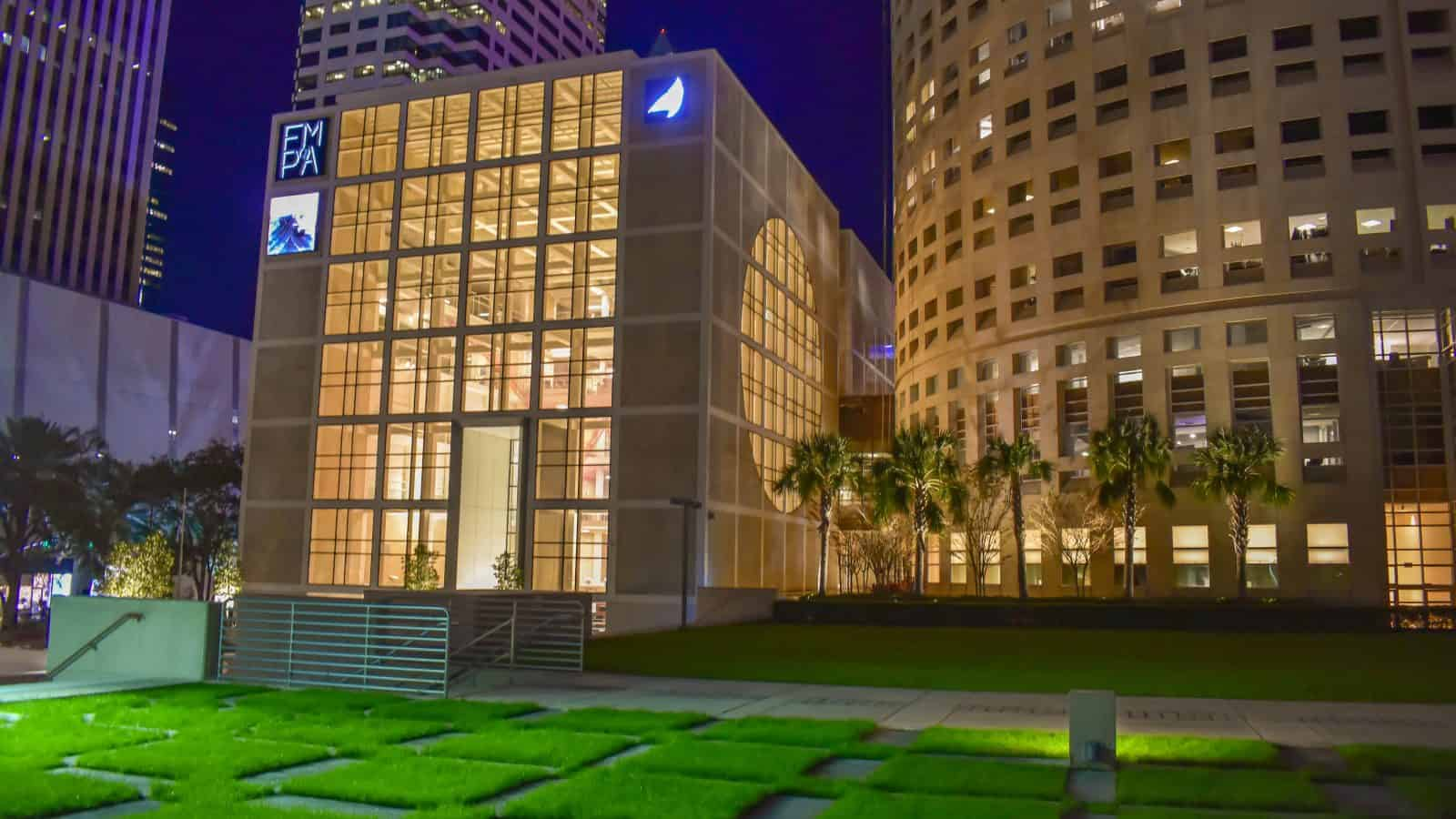 The Florida Museum of Photographic Art exterior with its grassy lawn.