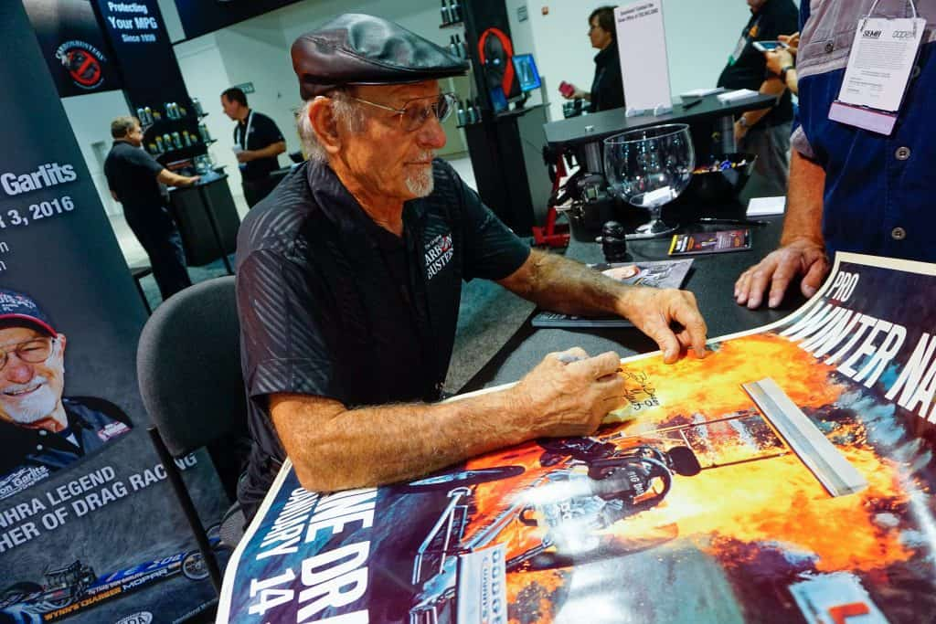 """Big Daddy"" Don Garlits signs autographs at his namesake museum for drag racing in Ocala, Florida."