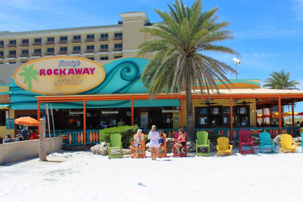 The entryway and bar of Frenchy's Rockaway Grill on the sands of Clearwater Beach, one of the best restaurants in Clearwater.