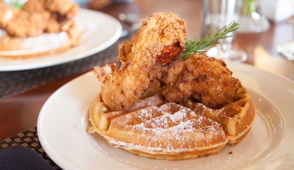 Chicken and Waffles at the Blue Rooster Sarasota.