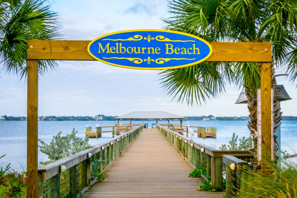 Photo of Melbourne Beach where you can see sea turtles in Florida.