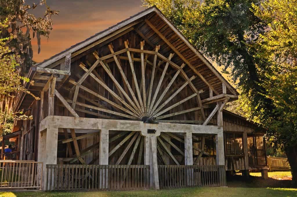 A rustic watermill stands in De Leon Springs State Park.