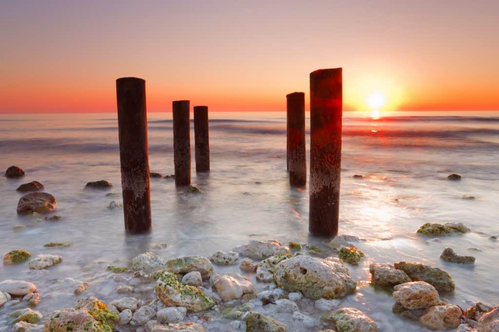 The sunset washes over the shores of Honeymoon Island State Park in Dunedin.