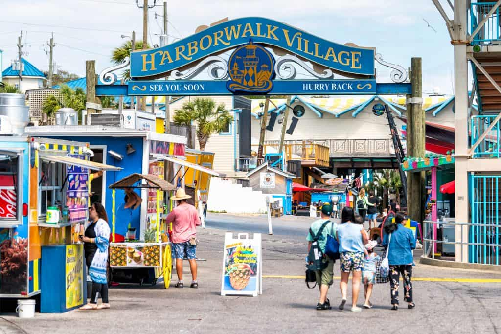 The entrance to Harborwalk Village on the Destin Harbor Boardwalk, one of the best things to do in Destin.