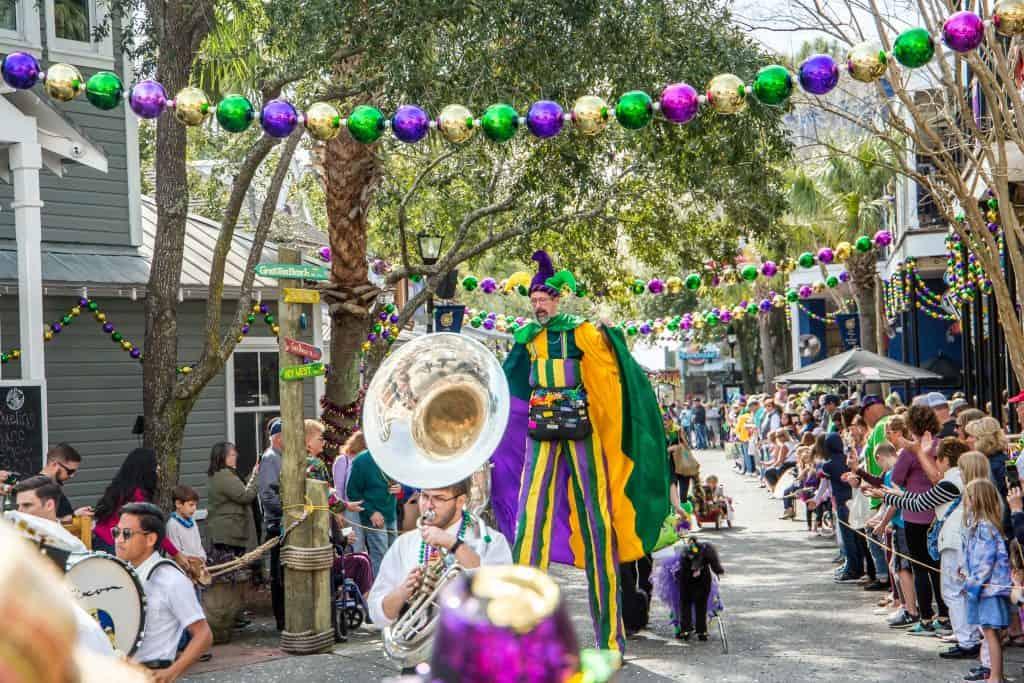 The Mardi Gras Parade takes over downtown Destin.