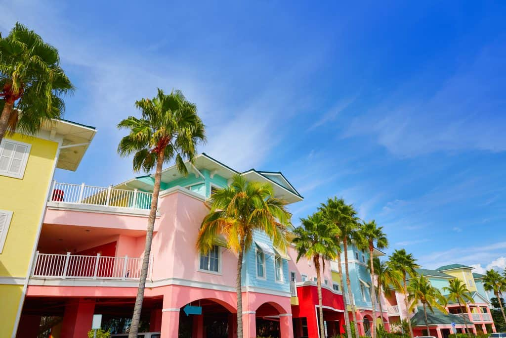Colorful condos line the streets of Fort Myers, Florida.