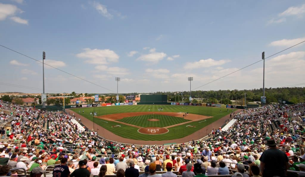 Crowds attend a Spring Training game at Hammond Stadium in Fort Myers, Florida.
