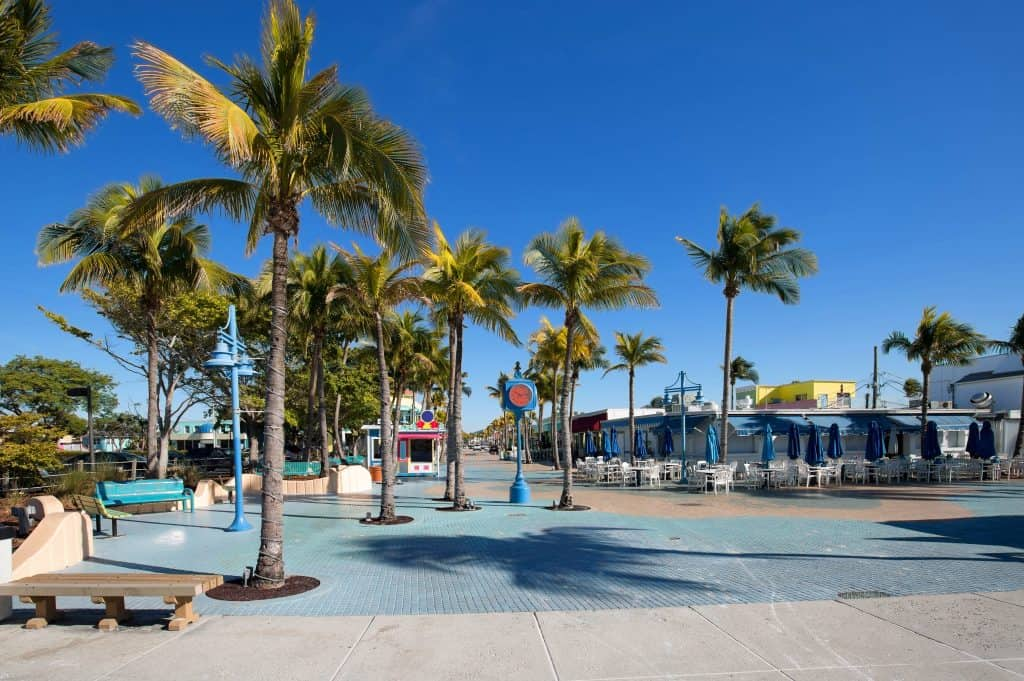 The plaza at Times Square in Estero Island in Fort Myers, Florida.