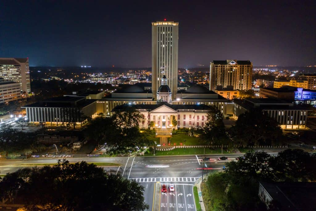 The Capitol Building is illuminated at night in beautiful Tallahassee, Florida.