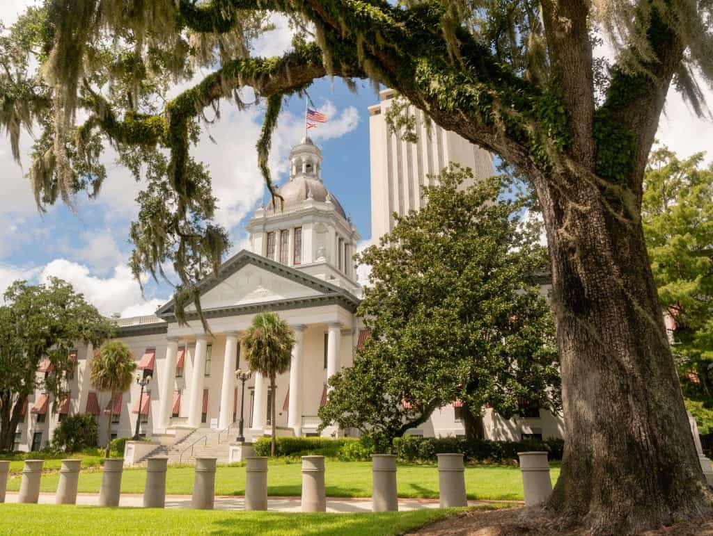 The Capitol Building stands, surrounded by towering oak trees in the capital city of Tallahassee.
