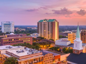 The downtown Tallahassee Skyline at dusk.