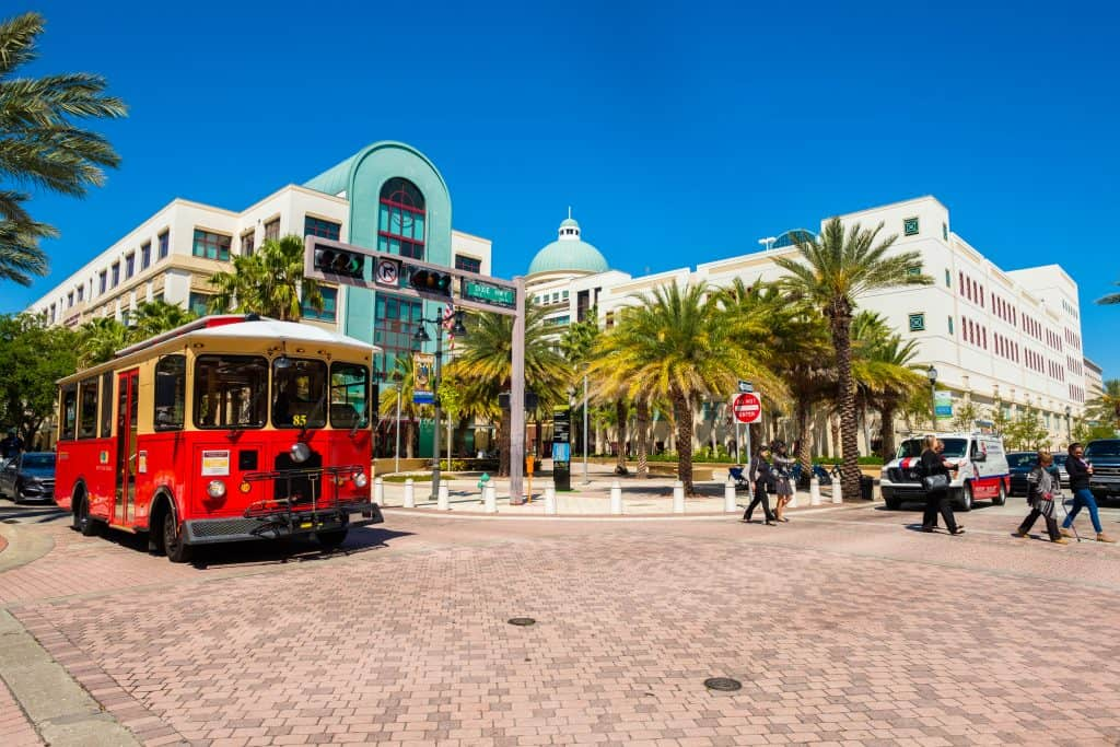 Molly's Trolley runs through downtown on Clematis Street, one of the best things to do in West Palm Beach.