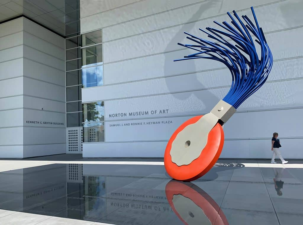 A colorful sculpture sits outside the entrance to the Norton Museum of Art.