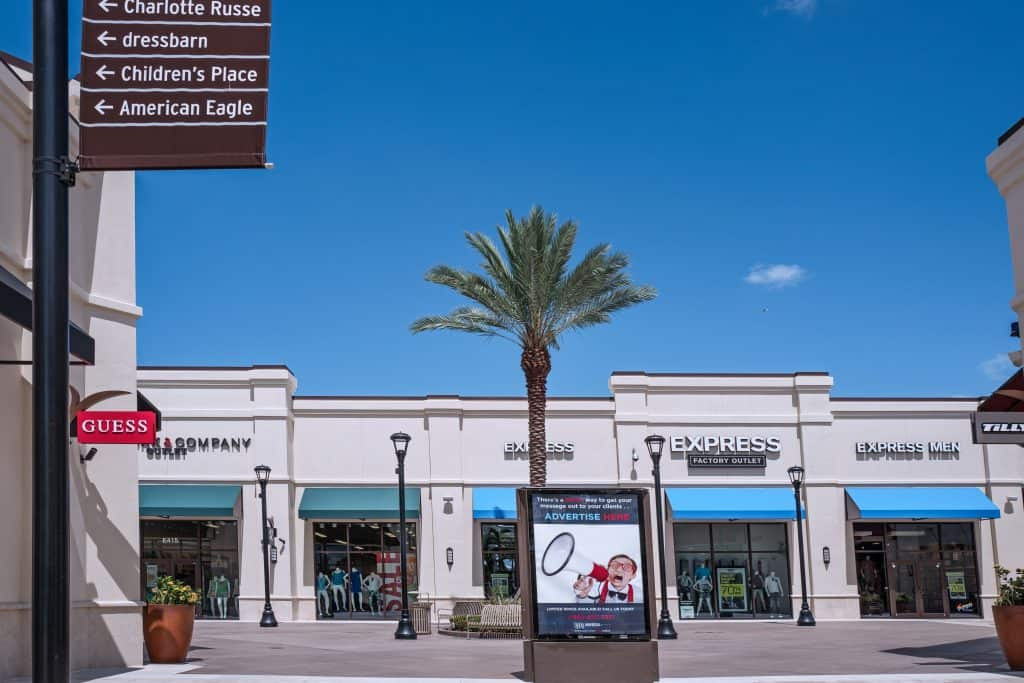 The shops at the Palm Beach Outlets, which includes high-end luxury brands.
