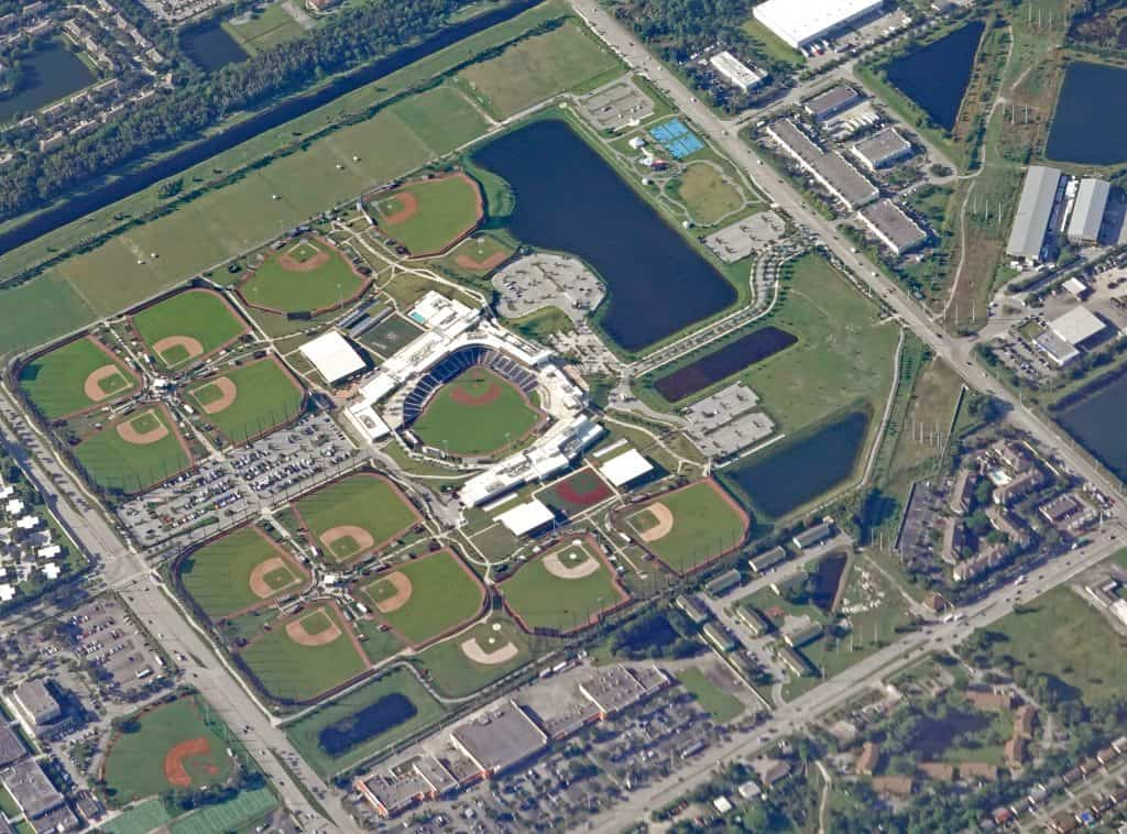 The many diamonds and fields of the Ballpark in West Palm Beach.