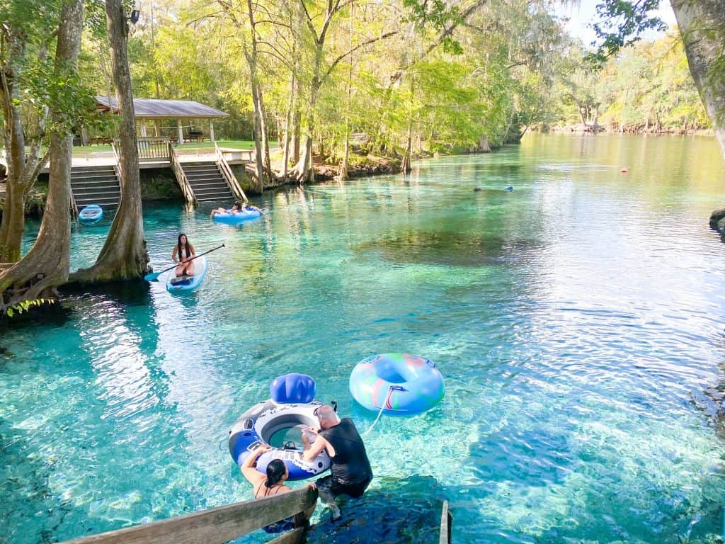 people on tubes at Ginnie Springs in Florida