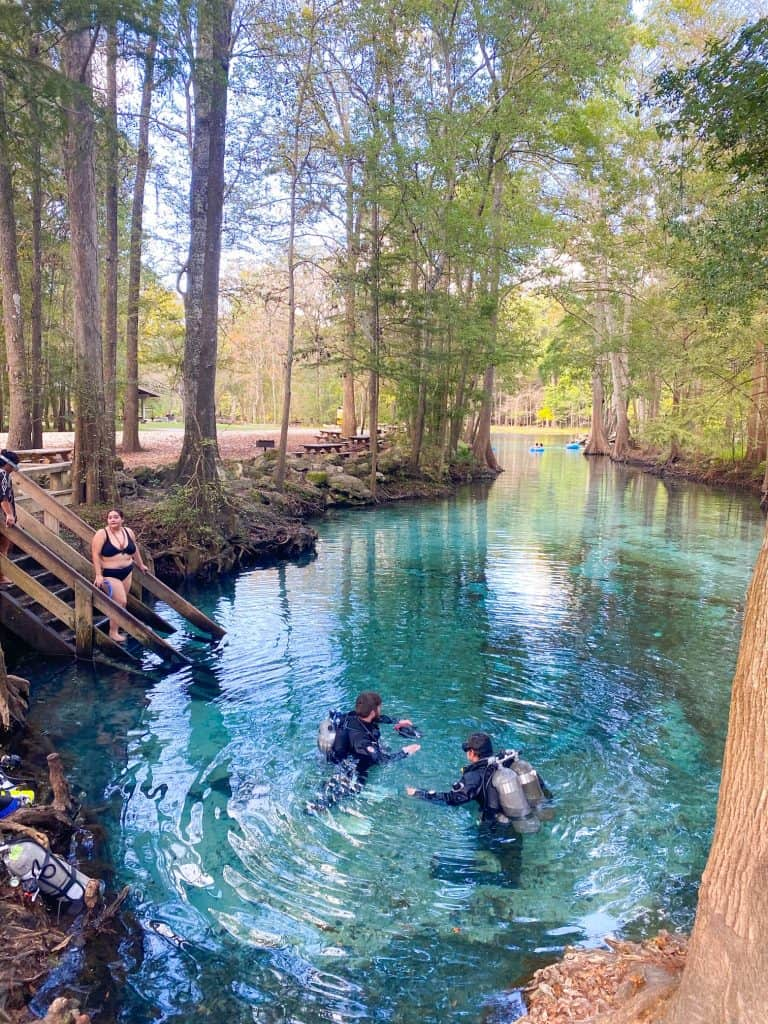 divers getting ready to dive at Ginnie Springs