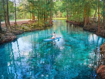 paddle boarding at Ginnie Springs in Florida