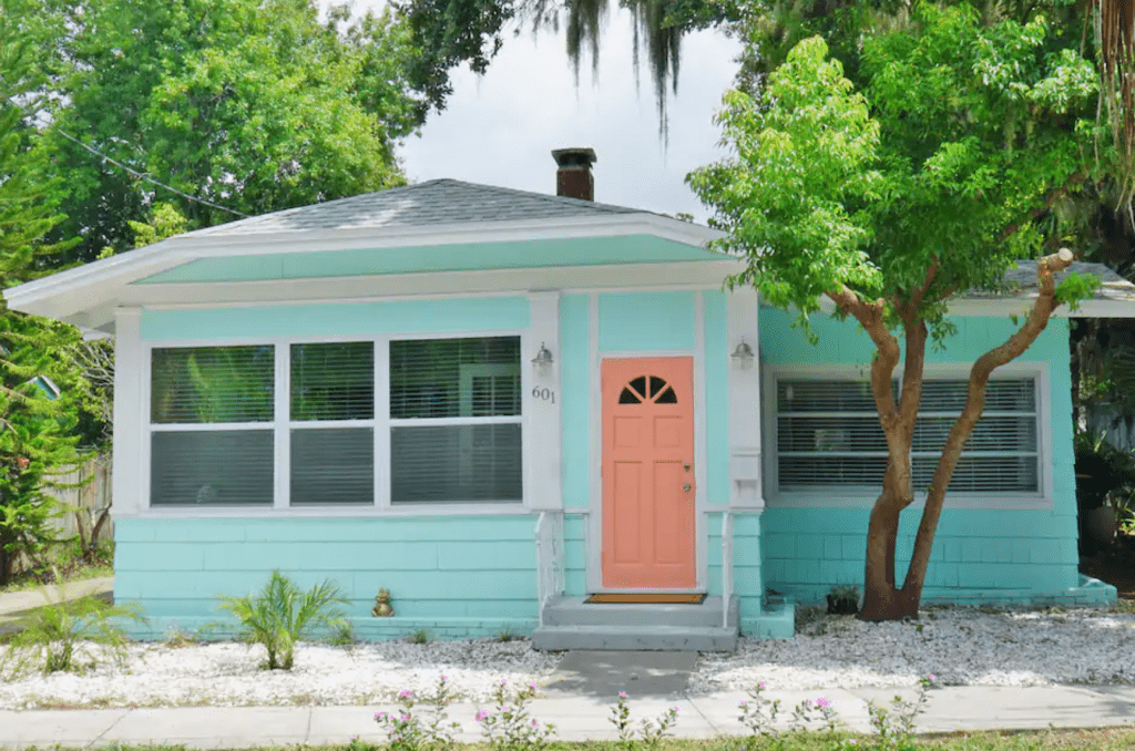 The pastels of the gorgeous Comfy Cottage, one of the best Airbnbs in Clearwater.