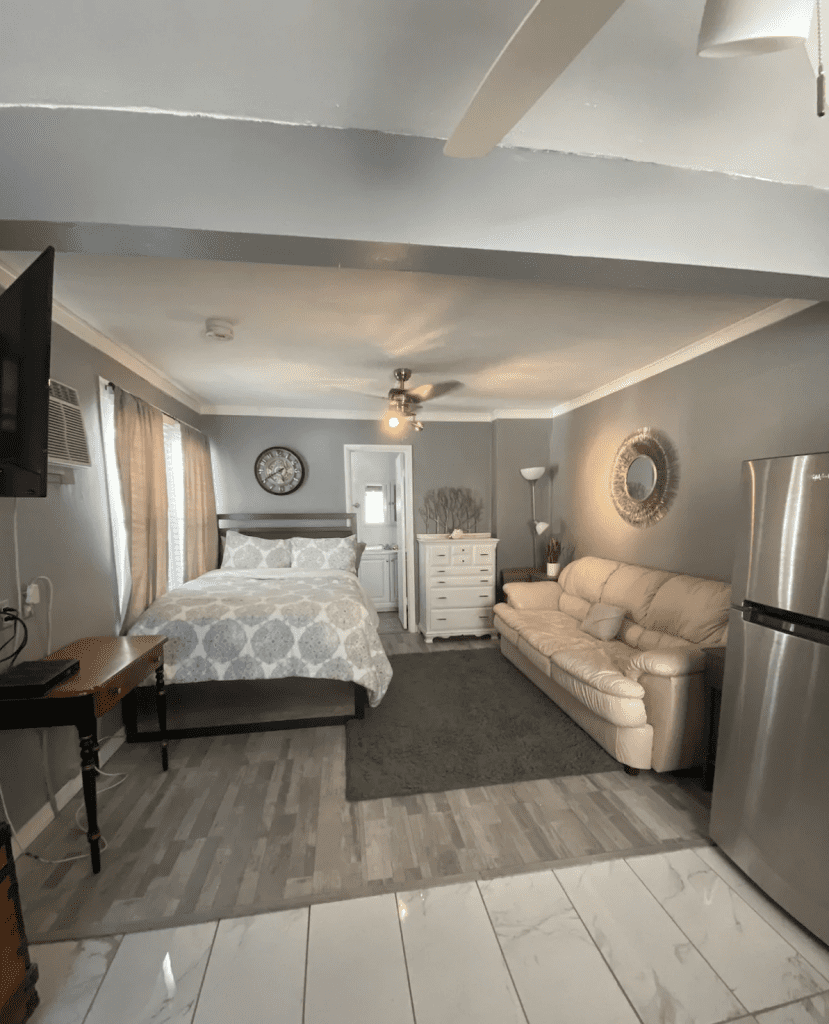 The interior of the cozy beach studio on Clearwater Beach.