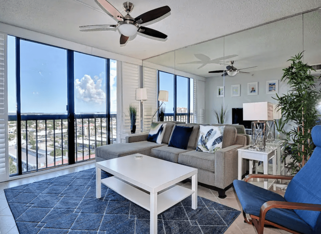 The beautiful interior of Dolphin Cove, one of the most beautiful Airbnbs on Clearwater Beach.