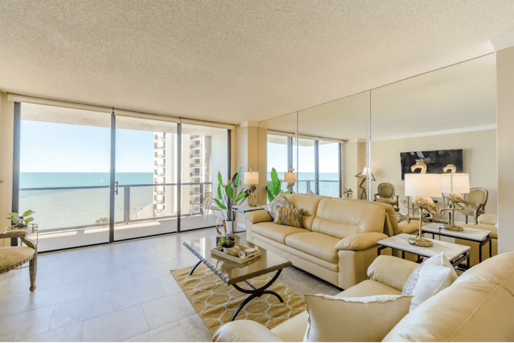 The gorgeous interior of the Oceanview Condo, one of the best Airbnbs in Clearwater.