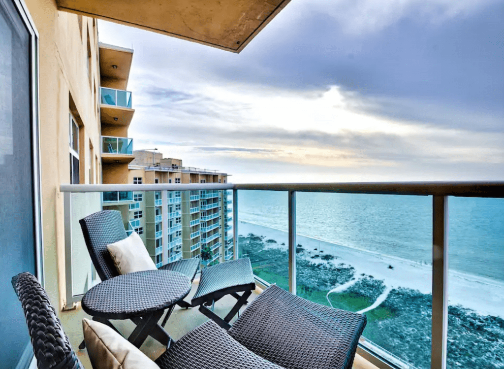 The balcony of the Regatta Beach Club, with views of the Gulf and beaches, one of the best Airbnbs in Clearwater.