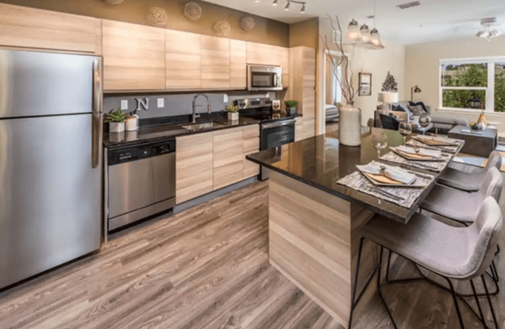 The chic modern kitchen of the Urban Apartment, one of the best Airbnbs in Clearwater!