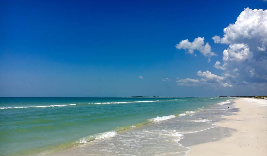 The serene, blue-green waters of Caladesi Island, one of the most beautiful beaches in Clearwater.