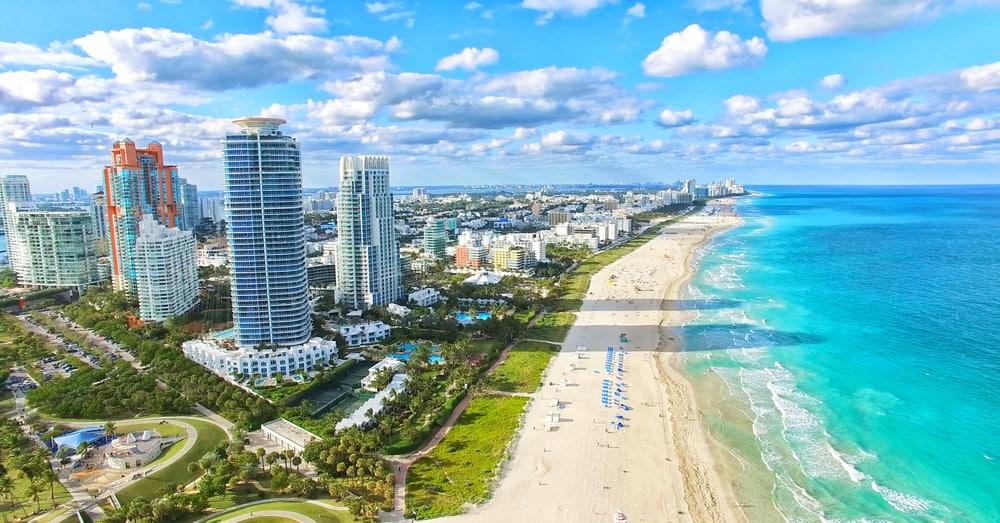 The Miami skyline and beach