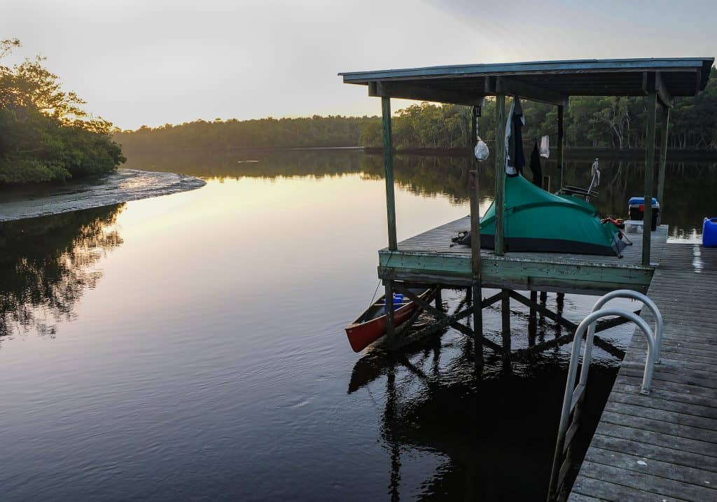 The Harney River Chickee sits above the water, one of the best sites for wilderness camping in Florida.