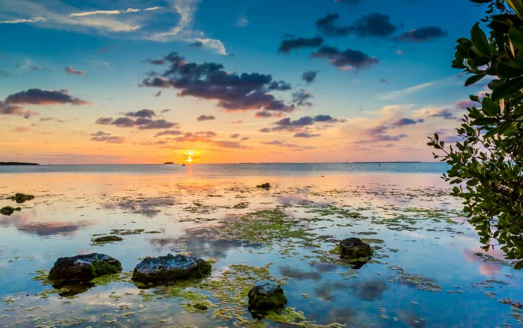 The sun sets on the waters of the Key Largo Kampground and Marinas, one of your best options for Florida Keys camping.