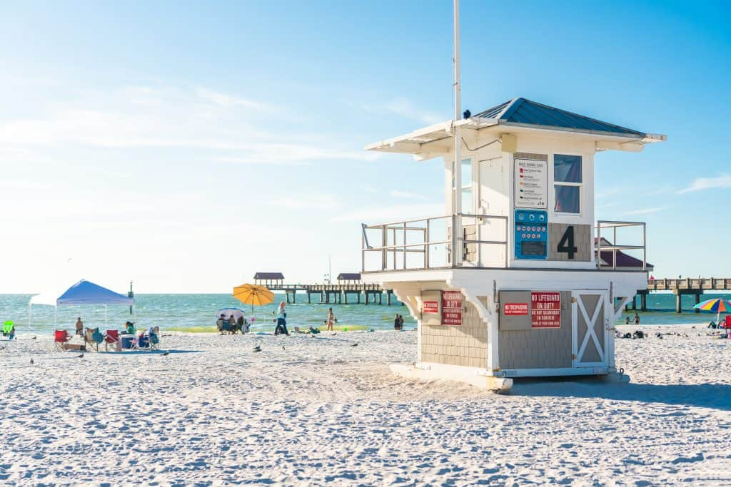A lifeguard stand watches over the sands of Clearwater Beach, one of the best family beaches in Florida.