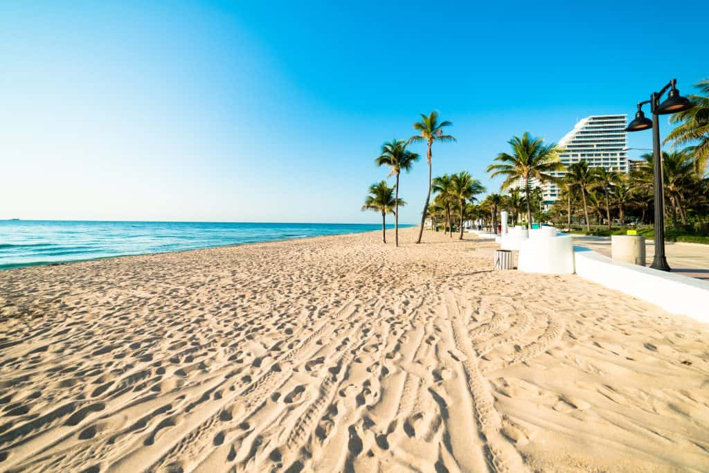 The golden-sands are freshly smoothed every morning awaiting guests at Fort Lauderdale Beach.