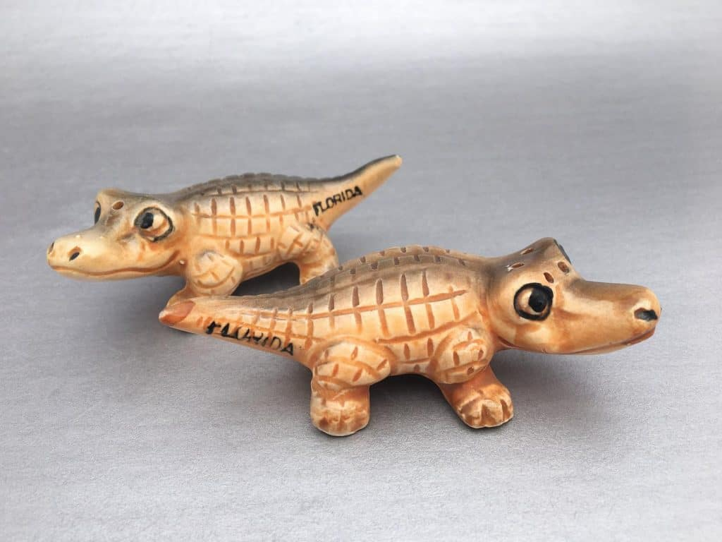 Photo of adorable alligator salt and pepper shakers, one of the besy Florida gifts and souvenirs.