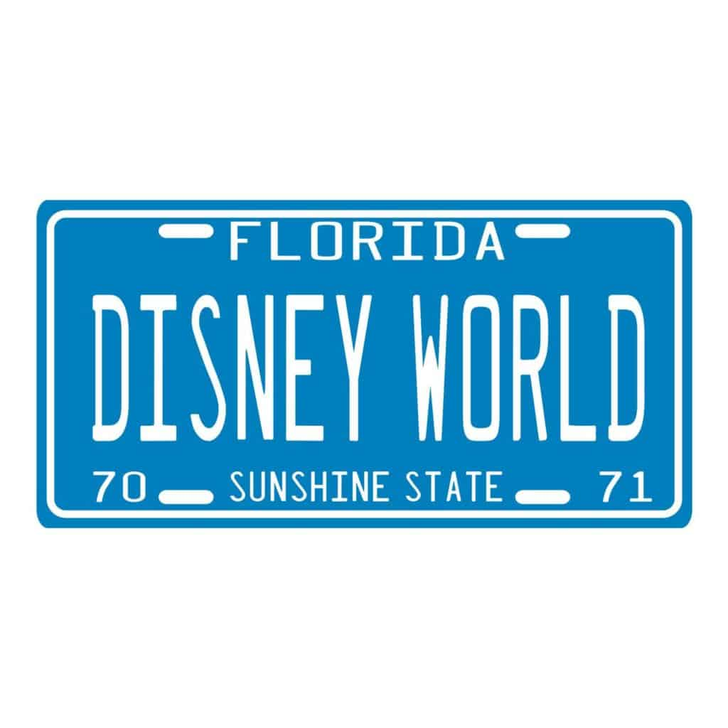 Photo of a vintage inspired Disney World license plate, one of the best Florida gifts and souvenirs.